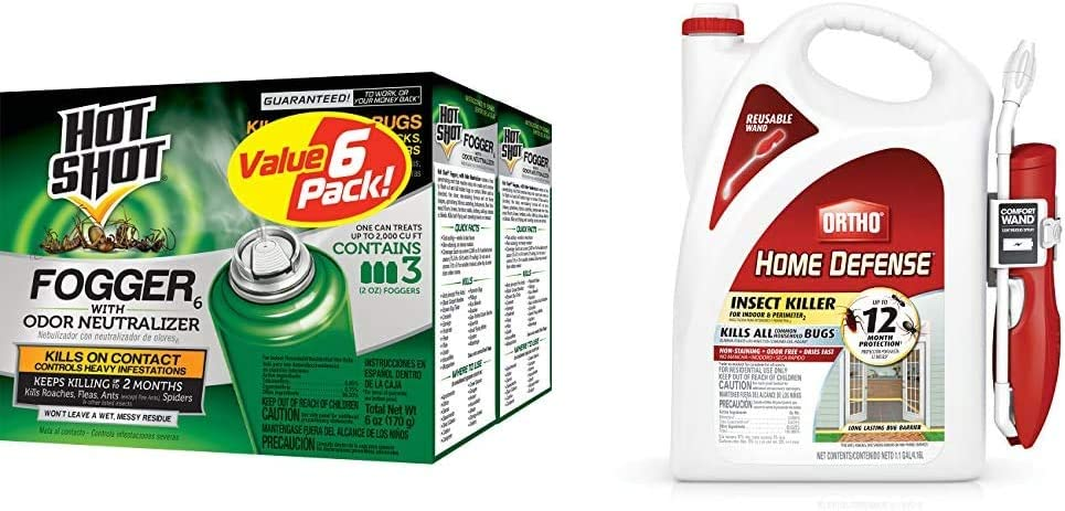 Hot Shot Fogger6 with Odor Neutralizer, 3/2-Ounce, 2-Pack & Ortho 0220910 Home Defense Insect Killer for Indoor & Perimeter2 with Comfort Wand Bonus Size, 1.1 GAL