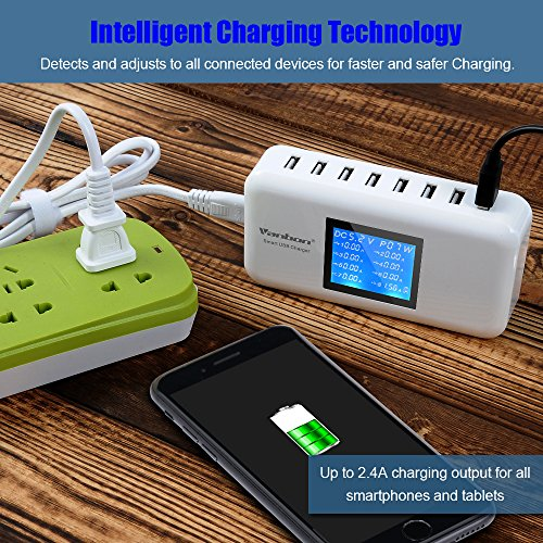 Multiple USB Charger, 60W/12A 8-Port Desktop Charger Charging Station Multi Port Travel Fast Wall Charger Hub with LCD for iPhone, iPad, Samsung, Smart Phones, Tablet and More (white)