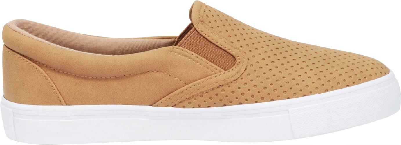 Cambridge Select Women's Slip-On Closed Round Toe Perforated Flatform Laser Cutout White Sole Flatform Perforated Fashion Sneaker B07F93L27X 8.5 B(M) US|Tan Nbpu/White Sole 07a500