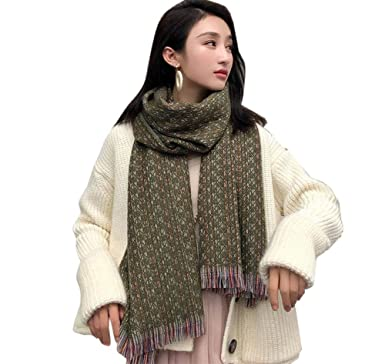 Aswinfon Écharpe Chale Femme Cachemire Chaud Automne Hiver Longue Tissu  Glands Foulard Oversize 200   68cm d139f80e7df