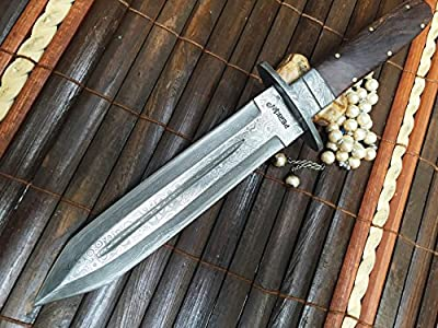 Fixed Blade Hunting Knife With Sheath Damascus Steel Full Tang Blade