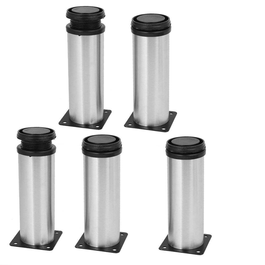uxcell 50mm x 150mm Metal Adjustable Furniture Cabinet Feet Leg Round Stand 5PCS