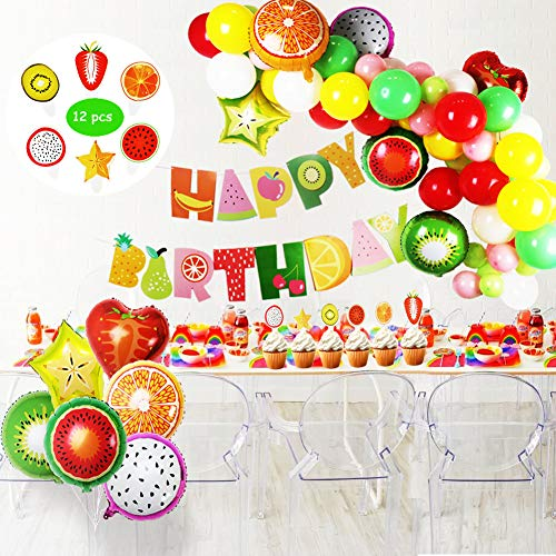 Tutti Frutti Party Decorations Set for Kids,Happy Birthday Banner,Fruit Foil Balloons,Latex Party Balloons,Cupcake Toppers for Birthday Baby Shower Fruit Theme -