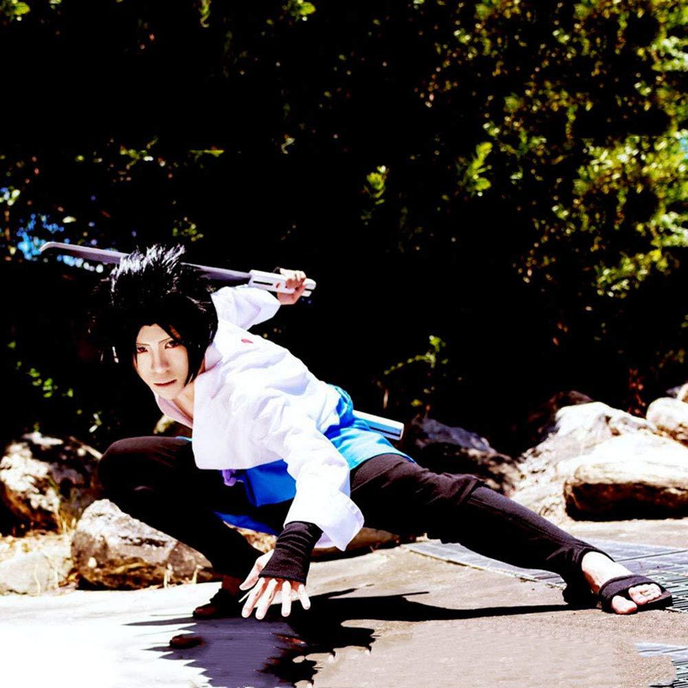 PAOFU-Naruto Uchiha Sasuke Costume Cosplay Anime Giapponese Unisex di Halloween,Bianca,L