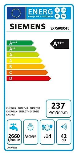 2660 L//Jahr 237 kWh//Jahr Dash Replenishment f/ähig AquaStop Siemens SX758X06TE iQ500 Wi-Fi Geschirrsp/üler A+++