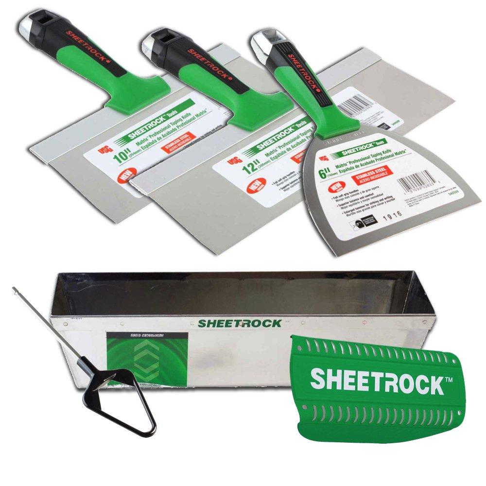 USG Sheetrock Matrix Drywall Taping Knife Set with Matrix Mud Pan, Magnetic Grip and Mini Mud Mixer