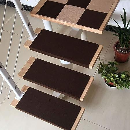 Carpet Stair Almohadilla de peldaños de Escalera de 2 Piezas, Juego de Almohadillas de Escalera, Almohadillas de Escalera de Alfombra, Antideslizante Antideslizante Autoadhesivo,Coffee-20cm x 50cm~B: Amazon.es: Hogar