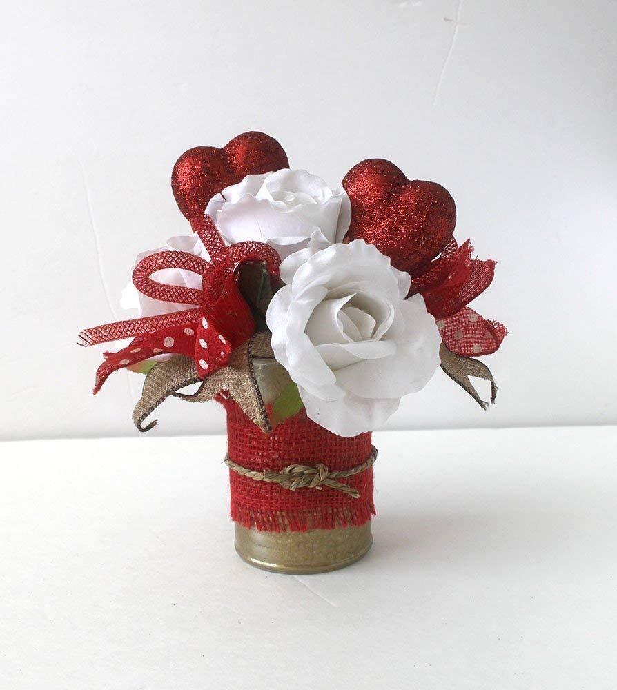 Amazon Com Small Valentine Flower Arrangement Burlap Floral Arrangement Gift For Her Valentine S Day Decoration Home Decor Gift Handmade