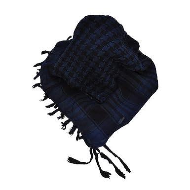 TOUTACOO, Keffieh Foulard Palestinien 100% Coton - Couleur Noir Bleu Nuit 9b53215ae05