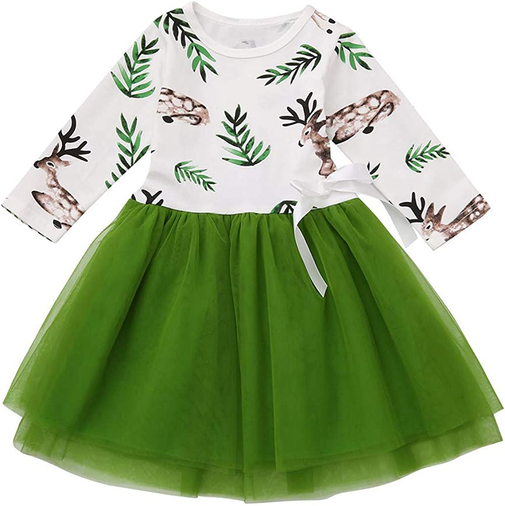 Toddler Baby Girls Christmas Long Sleeve Fawn Print Dress Outfits Clothes Hstore Dress