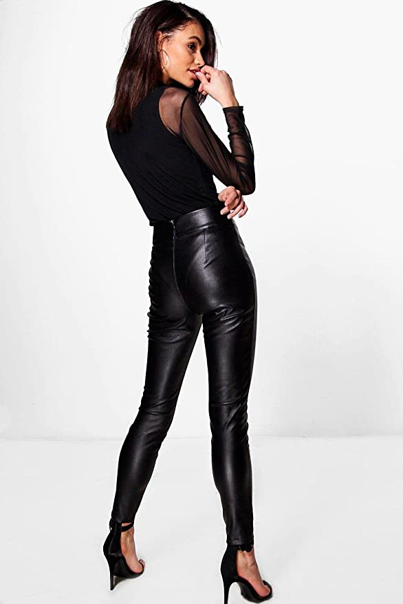 59cc0bba60a60 Damen Schwarz Madison Schmal geschnittene Hose in Lederoptik mit ...