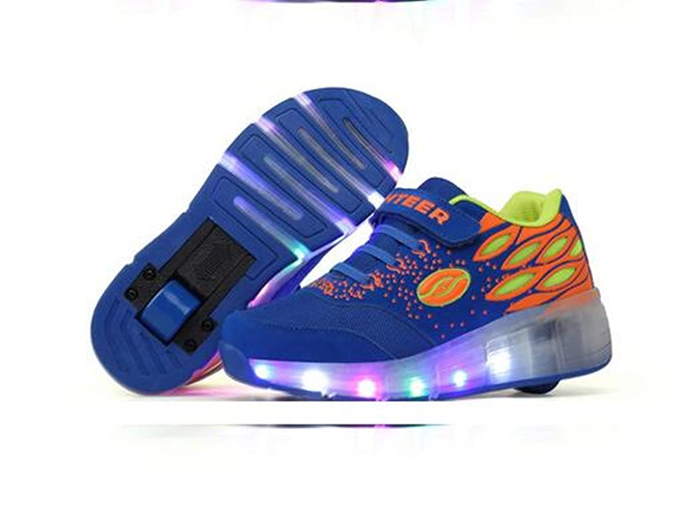 A4CIASJjs Kids LED Shoes Light Up Wheels Roller Skates Flashing Fashion Sneakers