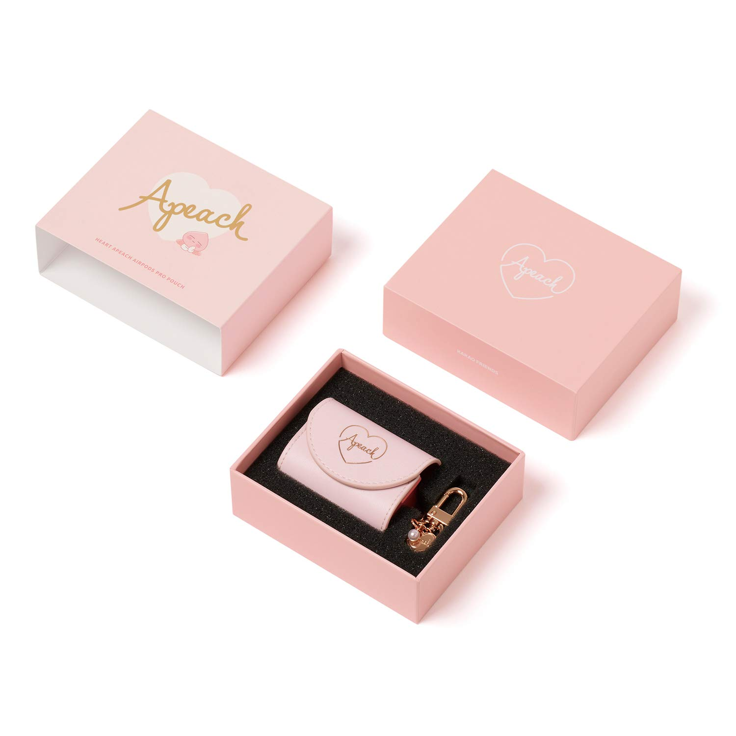 KAKAO FRIENDS Official- Heart Apeach PU Protective Pouch, Compatible with AirPods Pro