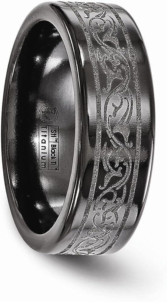 Wedding Bands Other Themed Bands Edward Mirell Titanium Black Ti Laser 8mm Band Size 12