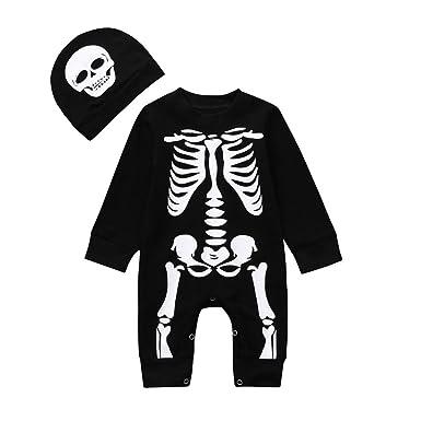 Infant Jumpsuit Baby Girl Boy Halloween Skeleton Costume Romper Skull Outfits