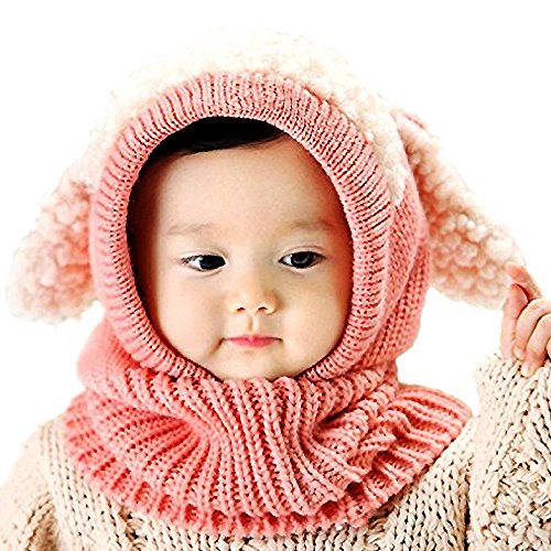 Winter Kids Warm Animal Hats Knitted Coif Hood Scarf Beanies for Autumn Winter (Lamb-pink)