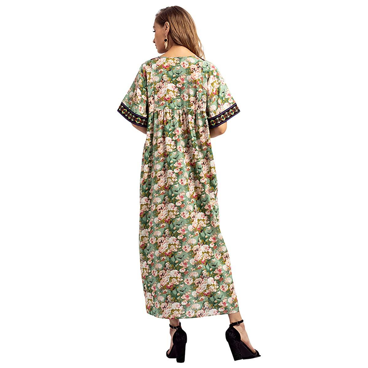 LQUYY Las Mujeres De Dubai Con Cuello En V Bordados De Impresión Árabe Vestido De Bata Casual Borla Suelta,01,M: Amazon.es: Ropa y accesorios
