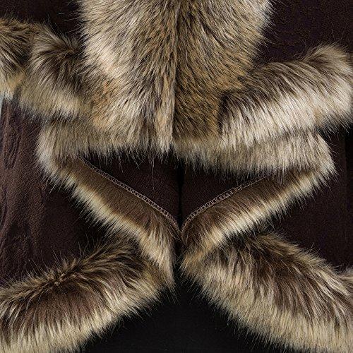 Mujer Faux cachemira mantón Capa coat- Fashion Retro Cape Cardigan marrón oscuro
