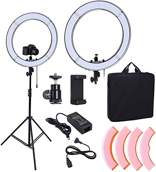 YAYONG 55W 240 Units LED Ring Light 5500K Photography Dimmable Makeup Ring Lamp with 190CM Tripod