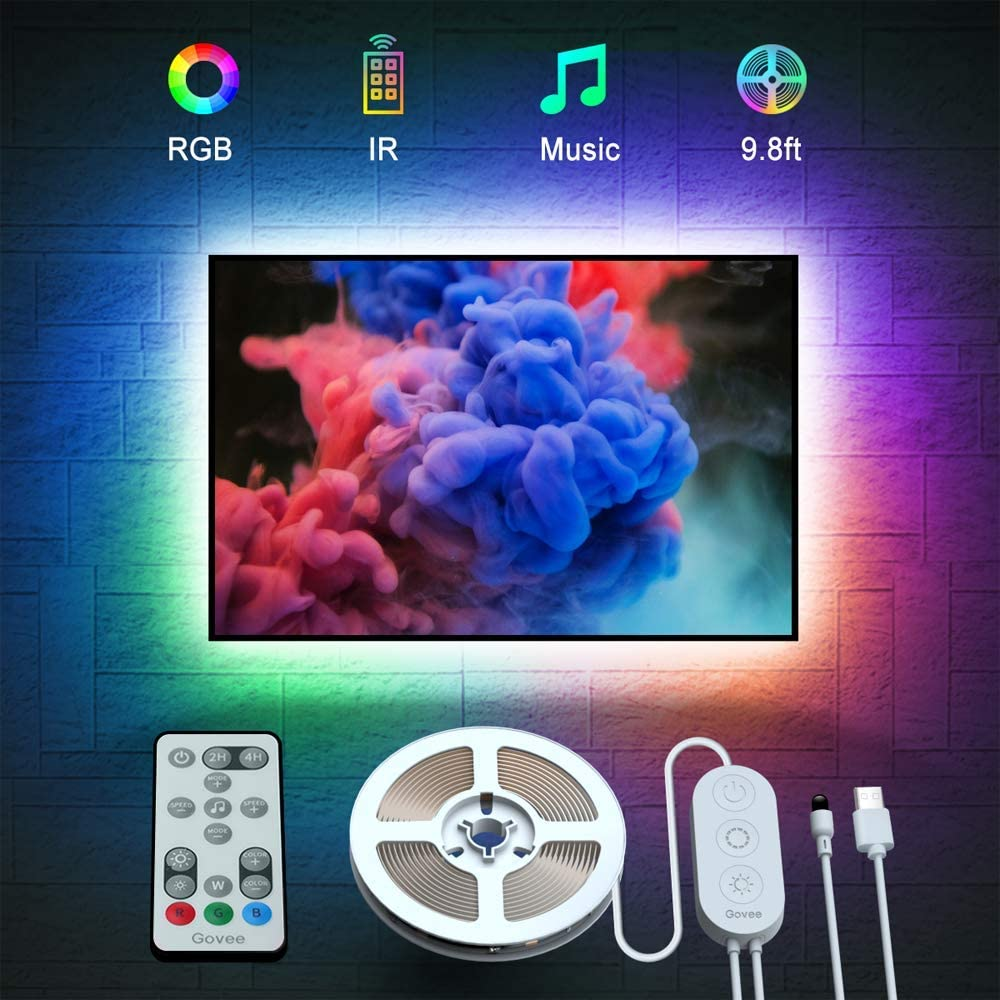TV LED Backlights, Govee 9.8ft LED Strip Lights with Remote for 46-60 inch TV, 32 Colors 7 Scene Modes Accent Strip Lighting Music Sync TV Backlights with 3M Tape and 5 Support Clips, USB Powered
