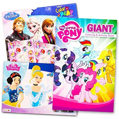 Disney MLP Coloring Book Super Set for Girls -- 3 Giant Coloring Books Featuring Disney Princess, Frozen and My Little Pony (Includes Disney Princess Stickers)]()