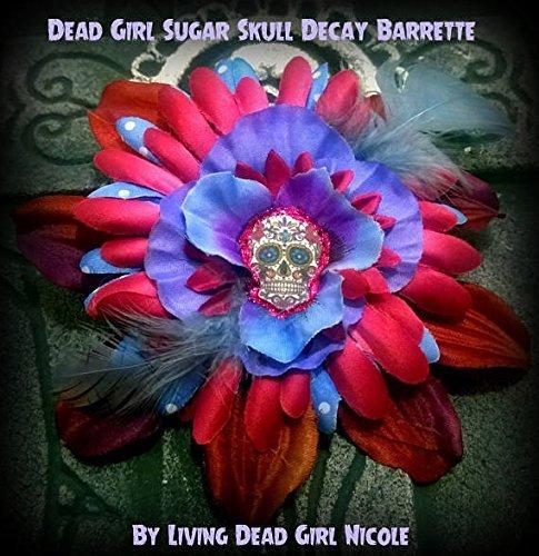977551647 Amazon.com: Hair Barrette: Dead Girl Decay - Day of the Dead Sugar Skull  Magenta Blue Purple Flower Feather Hair Barrette: Handmade