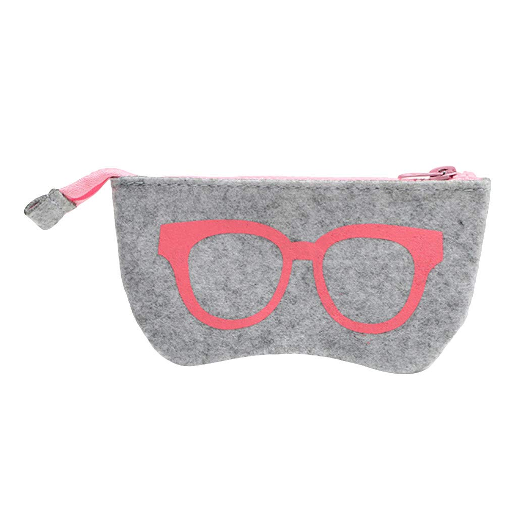 FAERIE Zipped Sunglasses Glasses Spectacle Case Pouch Soft Zip Glasses Case (Red) by FAERIE
