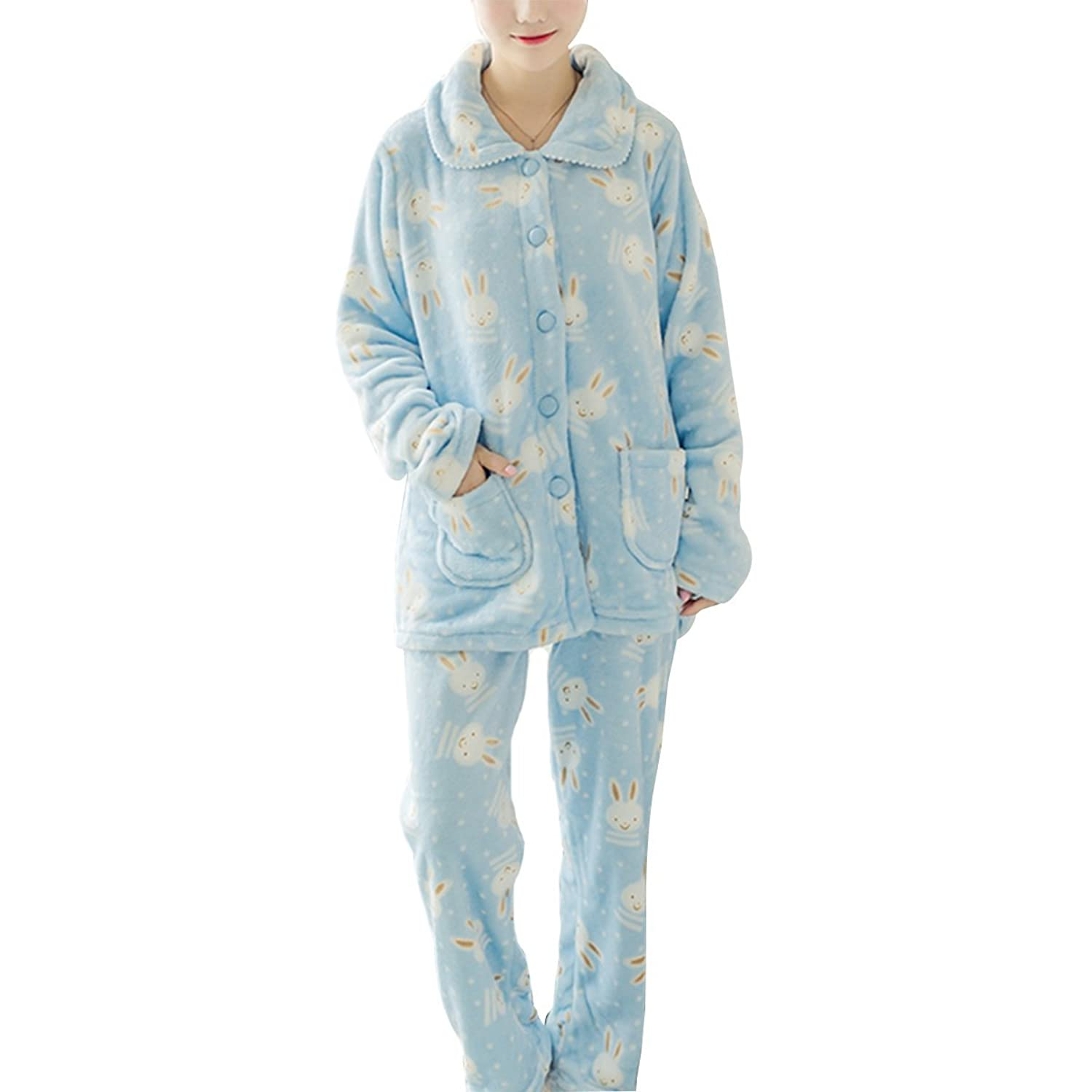 Cityelf Women's Autumn Winter Flannel Thick Homewear Over-Sized Sleepwear Set SYW0009
