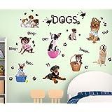Fangeplus(TM) DIY Removable Cute Dogs Puppy Art Mural Vinyl Waterproof Wall Stickers Kids Room Decor Nursery Decal Sticker 27.5''x19.6''