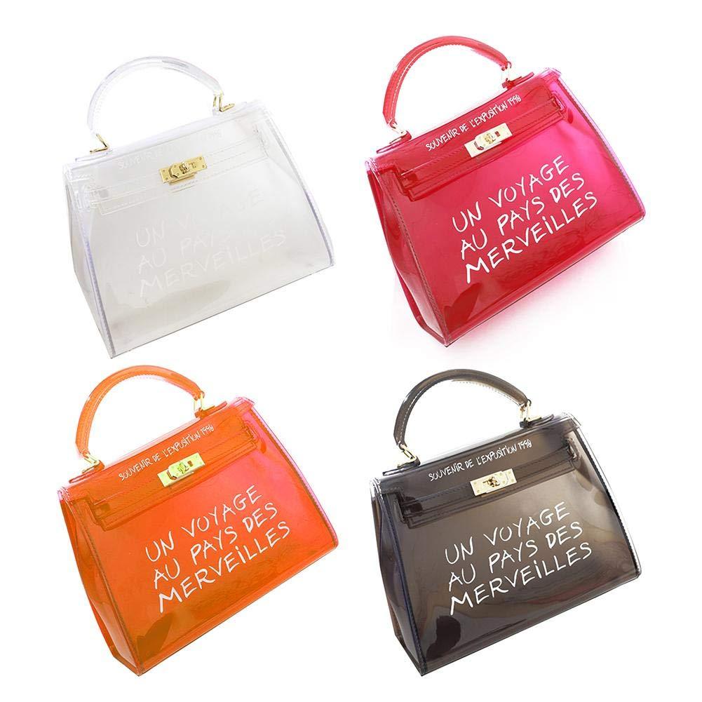 Orange Small niyin204 Sac /à Main en PVC Transparent pour Femme