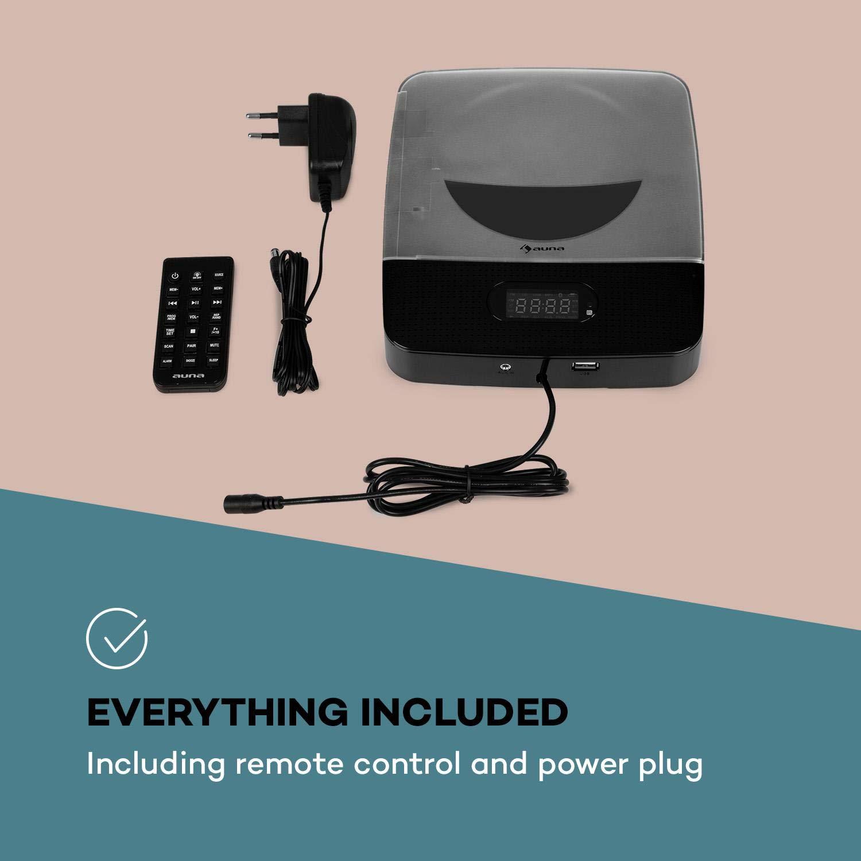 Auna Vertiplay /• Lettore CD /• Bluetooth /• Radio FM /• AUX /• Orologio Digitale /• Luce Notturna /• Montaggio a Parete /• Bianco