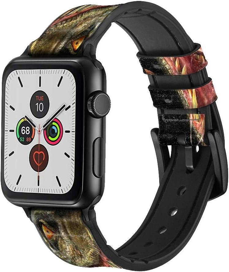 CA0126 T-Rex Dinosaur Leather & Silicone Smart Watch Band Strap for Apple Watch iWatch Size 38mm/40mm