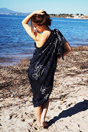 manumar Mujer sarong | pareo Toalla de playa | ligero de wickel–Toalla con flecos borlas negro Sonne mediano