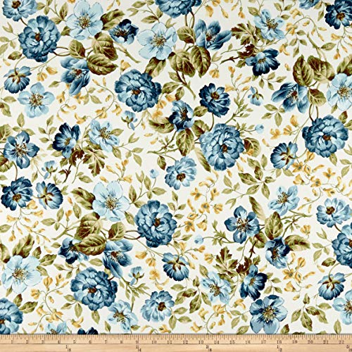 Maywood Studio English Countryside Focal Floral Fabric, Natural, Fabric By The Yard