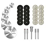Diamond Cutting Wheel, HSS Circular Saw Blades, and Resin Cut Off Disc Kit Set (31 Pcs) for Rotary Tool W/ 1/8'' Shank for Woodworking Metal Glass Plastic Stone by Lukcase (Tamaño: Cutting Wheel Kit)