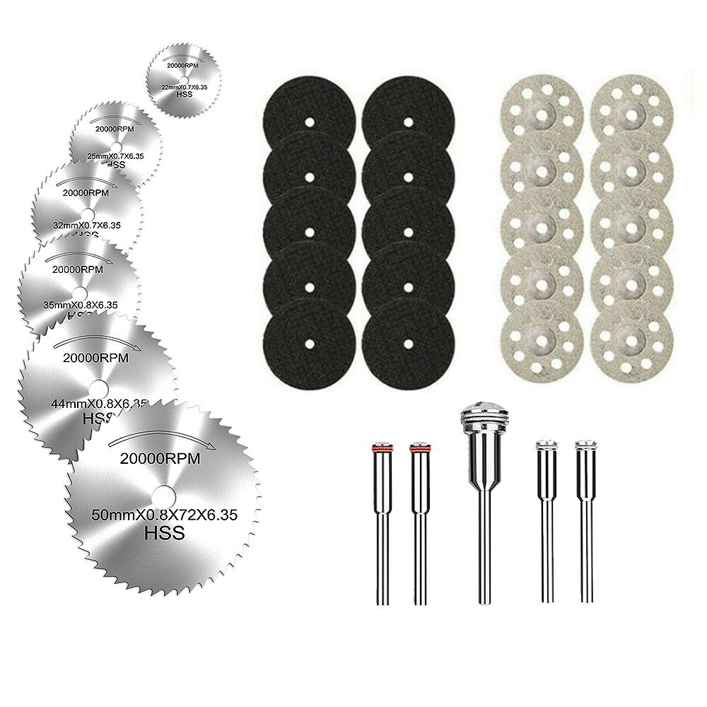 "Diamond Cutting Wheel, HSS Circular Saw Blades, and Resin Cut Off Disc Kit Set (31 Pcs) for Rotary Tool W/ 1/8"" Shank for Woodworking Metal Glass Plastic Stone by Lukcase"