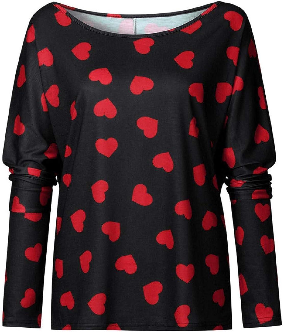 FAPIZI Womens Pullover Tunic Top Long Sleeve Heart Prints Blouse Off Shoulder Valentines T Shirt Sweatshirt