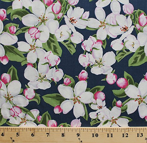 Cotton State Flowers II Apple Blossoms Flower Blue Cotton Fabric Print by the Yard (120-4141)