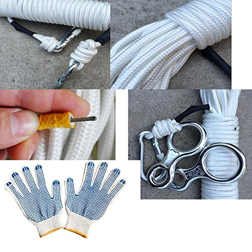 Kangkang@ 9mm Diameter Outdoor Climbing/downhill/escaping Omnipotent Safety Ropes(20m)fire Safety Rope Flame Retardant Wire Core Escape Rope Outdoor Rock Climbing Slow Speed Droop Life saving Emergency Line
