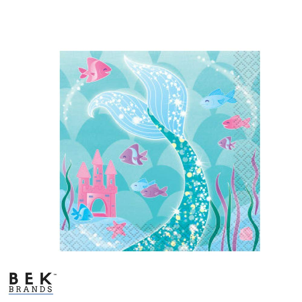 Cups and Tablecover Bek Brands Mermaid Girls Birthday Party Supply Pack Includes Plates 57 pieces! Napkins