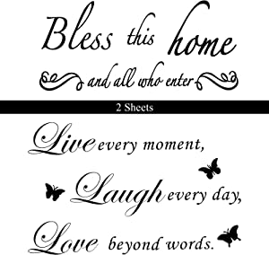 2 Sheets Wall Decal Sticker Vinyl Wall Decal Motivational Quote Wall Decal Inspirational Water-Proof for Living Room Bedroom Decoration (Bless and Live Style)