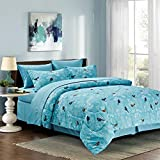Botanical 8-piece Bed in a Bag Set Light Blue (Queen)