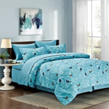 Botanical 8-piece Bed in a Bag Set Light Blue (Double/Full)