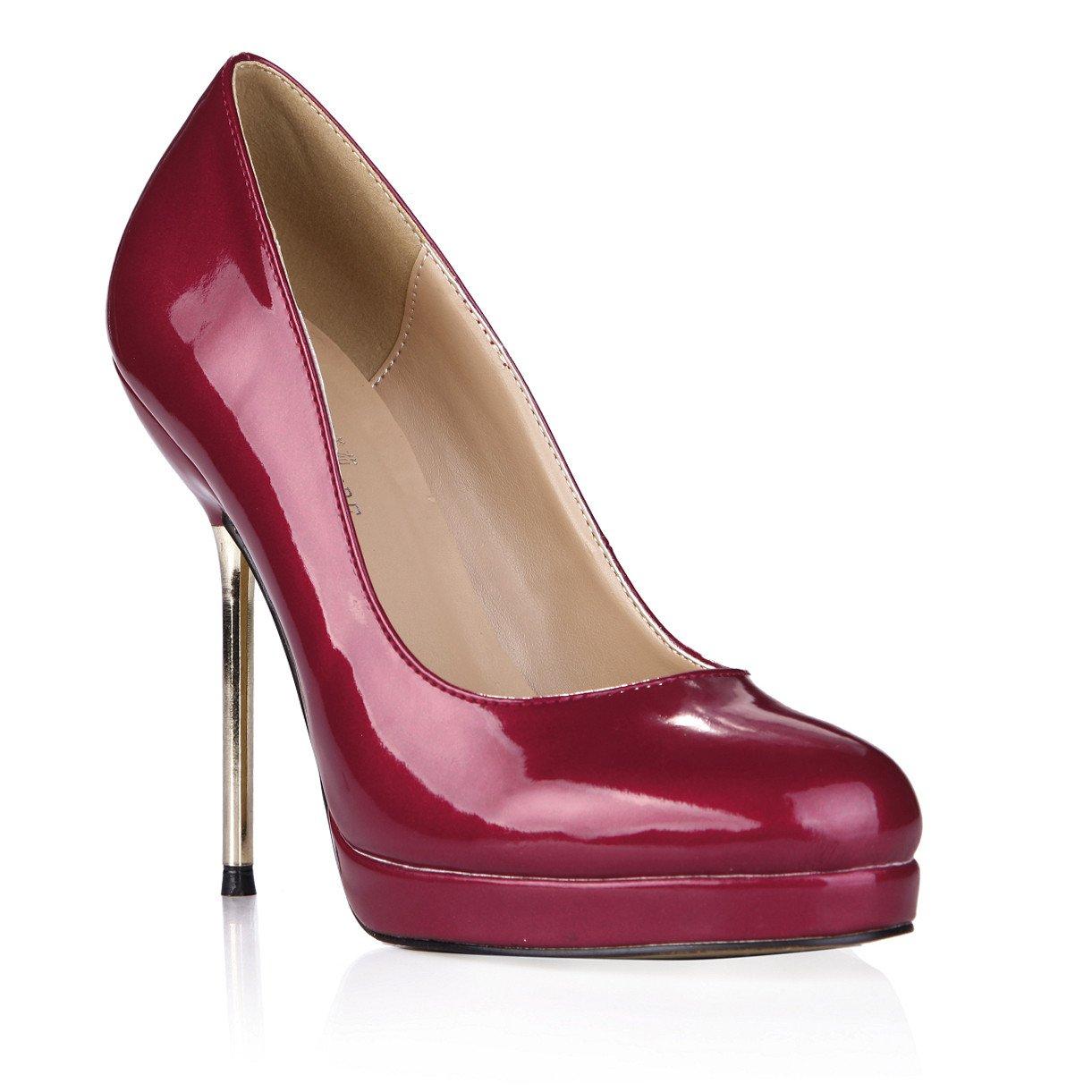 Wine rouge Seul le nouveau dîner femmes les chaussures à haut talon en cuir verni rouge vin chaussure avec fer à repasser US8.5   EU39   UK6.5   CN40