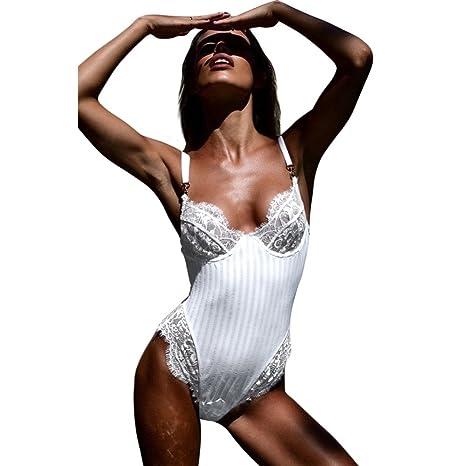 HQY Sexy Mujer Ajustable arnés con Cuello en V Sexy Encaje ...