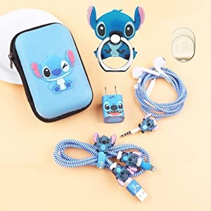 ZOEAST(TM) DIY Protectors Phone Ring Apple USB Data Line Cable Charger Earphone Wire Saver Protector Compatible with iPhone 5 5S SE 6 6S 7 8 Plus X XS Max iPad (Square Box, Stitch)