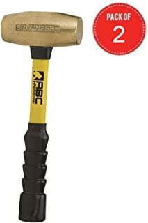"""product image for ABC Hammers pack of 2 Brass Hammer with 12"""" Fiberglass Handle, 5-Pound"""