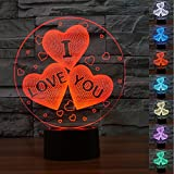 3D Illusion Lamp Gawell Night Light I LOVE YOU 7 Changing Colors Touch USB Table Nice Gift Toys Decorations