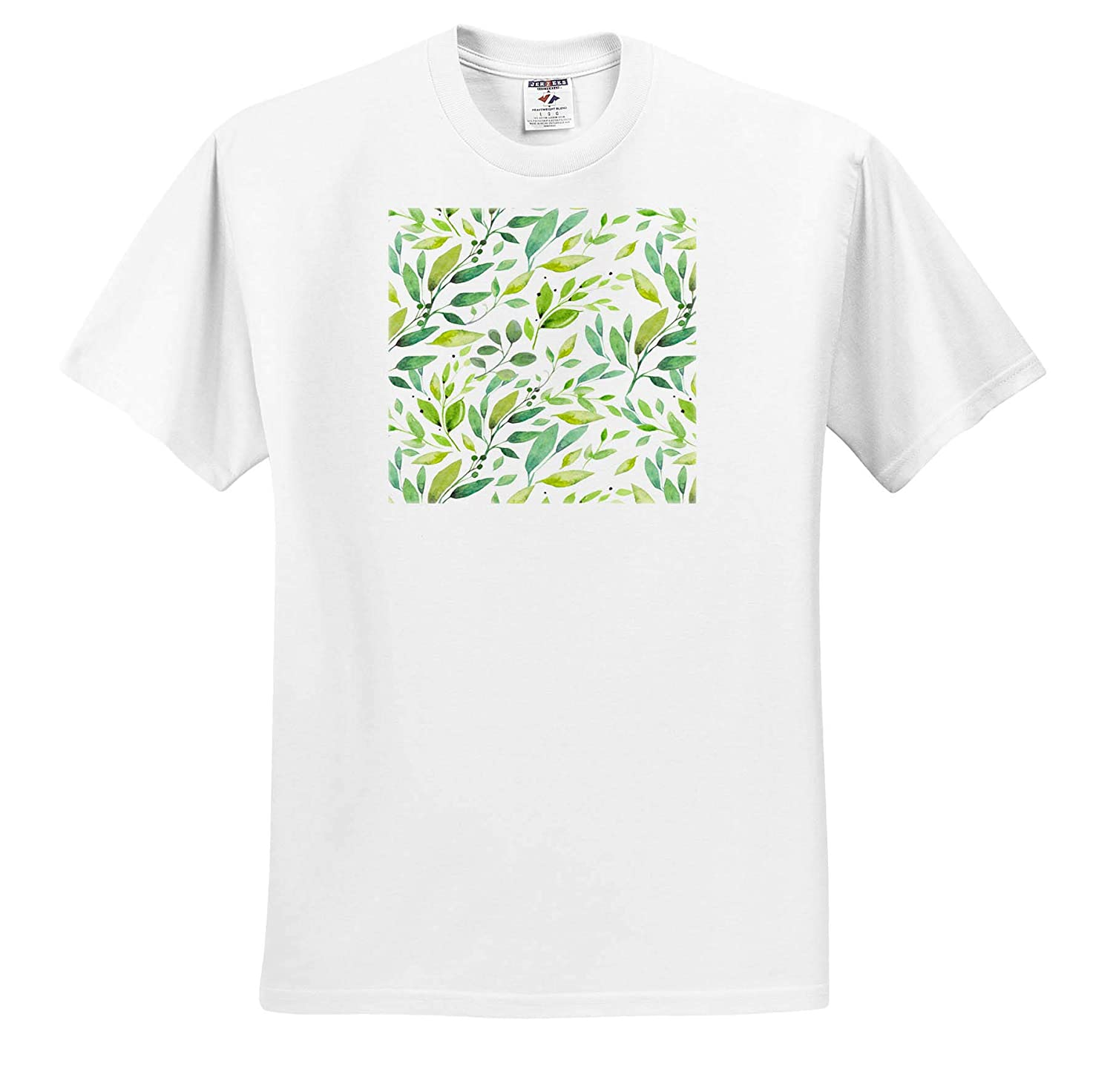 ts/_317625 Patterns Adult T-Shirt XL 3dRose Anne Marie Baugh Pretty Green Image of Watercolor Leaves Pattern