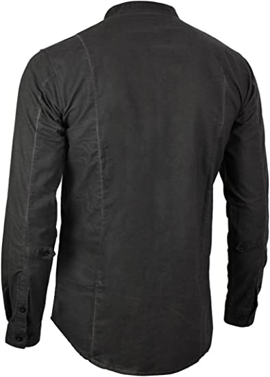 trueprodigy Casual Hombre Marca Camisa Basico Ropa Retro Vintage Rock Vestir Moda Cuello Alto Manga Larga Slim fit Designer Fashion Shirt, Colores:Black, Tamaño:S: Amazon.es: Ropa y accesorios